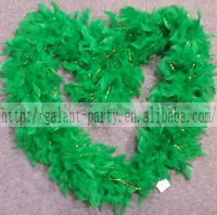 Factory Party Sexy Deluxe Green Marabou Feather Boa With Tisel Woman Dance Masquerade Carnival Feather Boa Scarf Decoration