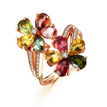 Hot sell flower jewelry multi color gemstone ring in silver