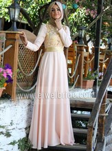 S598 Long Sleeve Ribbon A-Line Floor-length Chiffon Islamic Women Wedding Dresses