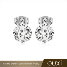20901 OUXI fancy ear stud golden earring designs korean model selling earring for women