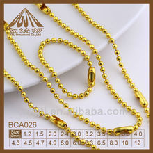 1.5mm Copper Plated Imitation Gold Round Ball chain