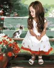 Paint Your Own Cotton Canvas Acrylic Paint Set little girl and cat design GX7208