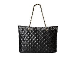 Eco-friendly classic black lady quilted shoulder bag