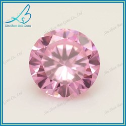 57 Facets round brilliant cut pink cubic zirconia loose stones