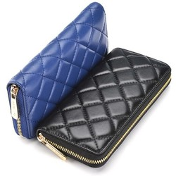 newest ling plaid pattern zipper around wallet women