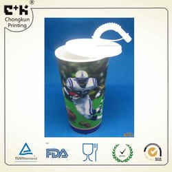 3D sports football lenticular PP cup with lid and straw