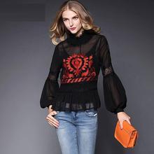 Nuevos Tops moda camisas de marca otoño 2015 mujeres de cuello con volantes del bloque del Color de manga farol bordado negro blusa blanca