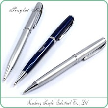 metal body blue smooth writing twist promotional custom logo expensive metal pen