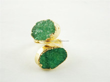 CH-JCR0048 hot pave stone drusy metal ring,adjustable rings,wholesale fashion rings