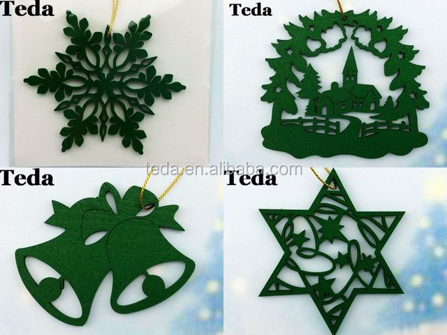 painted wooden ornaments wholesale 1 - Wooden Laser Cut Christmas Decorations