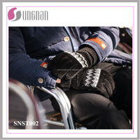 High Quality Warm Men's Anti-skid Cycling Knitted Stitching Pigskin Gloves