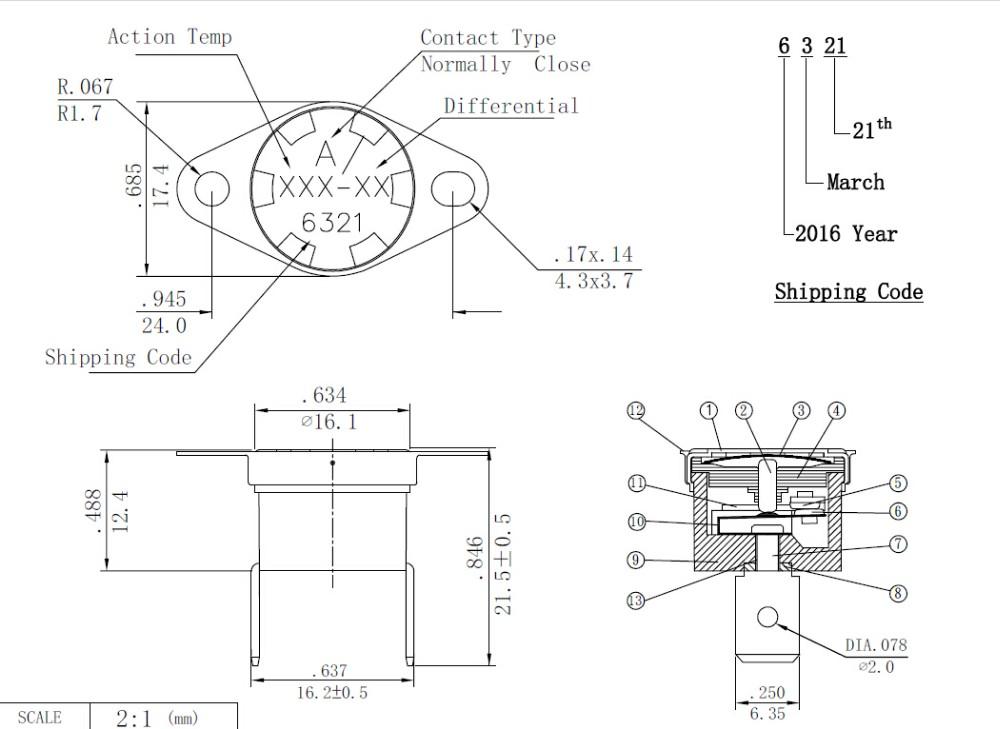 hot sell china manufacturer 1  2 u0026quot  disc snap bimetal thermostat ksd301  2 u0026quot  disc snap action