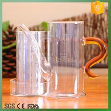 Colored handle heat resistant glass teapot