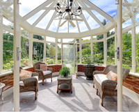 Curved lowes glass aluminium sunroom/ garden glass house