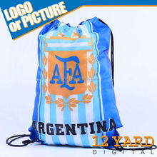 Popular Nylon polyester Argentina team Sport&GYM Sackpack/Bag sports world cup drawstring bags
