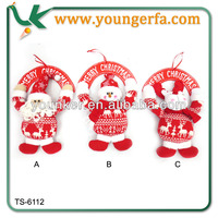 2014 New design Fabric Wooden Christmas Snowman Door Hanger