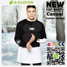 Mens dress long shirt 2014 fashion style 100% cotton pure white black tshirt