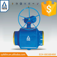 2015 TKFM hot sale worm gear operation forged steel fully welded ball valve