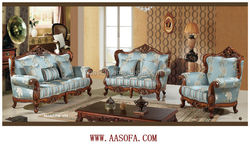 european style classic wood frame leather sofa for sale