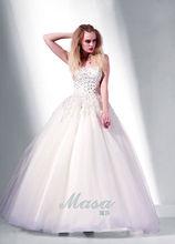 2014 hong kong international fashion week um shoudlder decore com bola vestido frisado vestido de casamento china