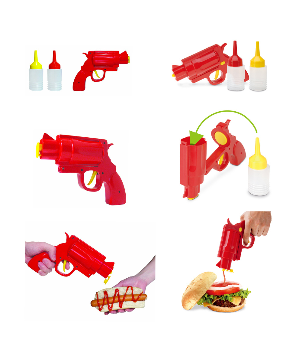 3pc CONDIMENT GUN Picnic Party for BBQ sauce Ketchup or Mustard salt or pepper Cake cream gun cooking tools