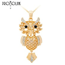full crystal antique decorative long chain necklace with Long eyebrow owl pendant