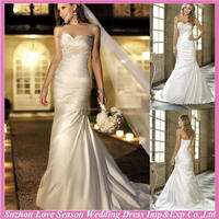 WD7674 new famous with high quality white strapless sleeveless ruched bodice royal train long veil satin custom wedding dress
