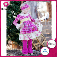 Fashion design aqua and baby pink polka dots tank top matching stripe girls leggings kids clothes wholesale with cute baby bib