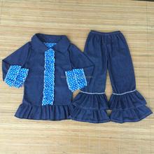 Novo 2015 roupas casuais vendas quentes do bebê outono menina cowboy terno vestuário Set ruffle crianças roupas de alta qualidade