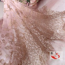 ladies dress material wholesalers African net embroidery sequin cord lace fabric 2015