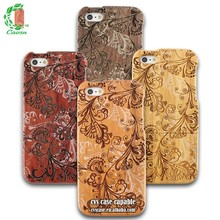 Fashion With Laser Machine Engraved Flower Picture Wood Case, Wood Case For Iphone 5