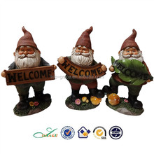 S/3 cute resin welcome wholesale garden gnomes