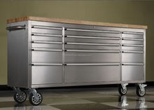 Tool Box 72-inch Ball Bearing Slide Drawers Top Rubber Wood Stainless Steel Mechanic New
