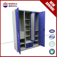 export to India metal almirah wardrobe with mirrior outside and different colors