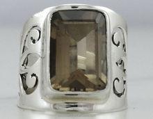 Fashion gemstone jewelry 925 sterling silver smoky quartz ring