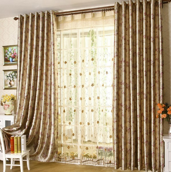 2015 new design living room curtain beautiful flower for Curtain design for living room