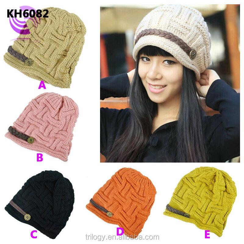 Mano crochet cable knit niñas gorro sombrero del invierno sombrero ...