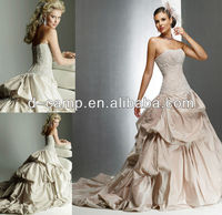 WD-775 Strapless fitted corset bodice dropped waist pearl pink wedding dresses