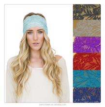Hot sale Top design2015 new lace scrunchies women girls turban headband women Scrunchy elastic for hair wraps band accessories