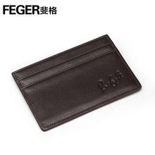 Trend slim leather card holder vintage cowhide leather card holder with signature logo