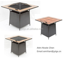 "34"" Outdoor Square metal fire pit table with tiles top"