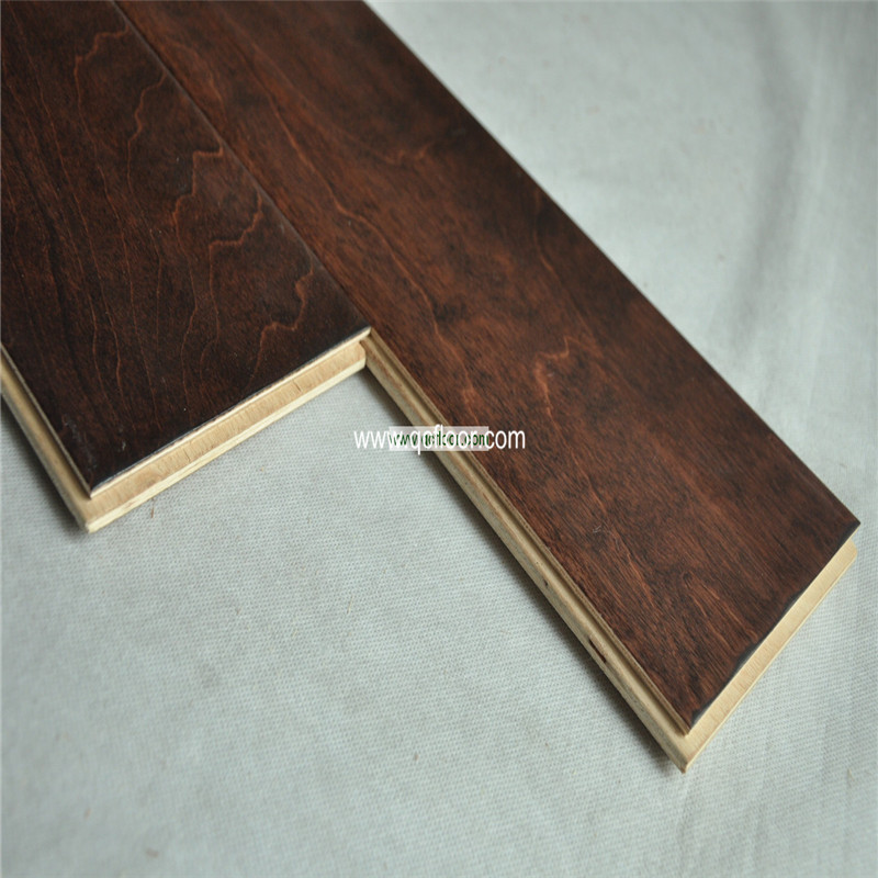 Engineered Handscraped Birch Wood Parquet Flooring Factory