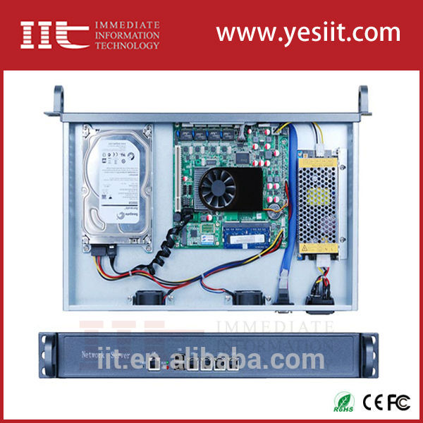 [ Compresa ] red de seguridad de la PC 1U para montaje en rack de dispositivo de red de Firewall caja de a bordo de la CPU del átomo d525, 4 LAN 1000 mbps, 1 com para RJ45
