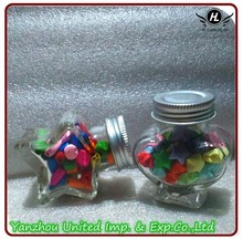Wholesale star and heart shape candy bottle with aluminum lid