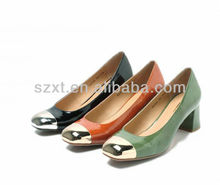 hot selling elegent chunky heel shoes steel toe ladies mid heel shoes square toe two-tone assorted women shoes