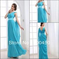 RT037 Professional real model Empire Designer Chiffon V-neckline Sashes Gowns Evening dresses new fashion 2013