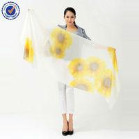 Sun Flower shawl Custom Design SWC106 Pure Cashmere Scarf Hand Printed scarf wholesale