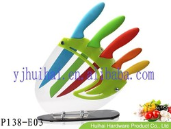 Manufacturer--- new product 5pcs colorful kitchen knife set with PP handle in acrylic block
