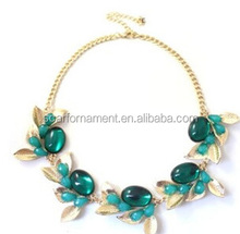 Newest Big Band Luxury Styles Gold Choker Necklace Leaf Shaped With Big Coloful Stones Short Pendant/Charm Necklace