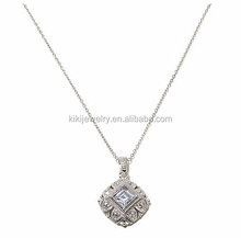 Luminous Latest Design Rhodium Plated Crystal Floral Pendant Cable Chain Necklace Jewelry